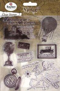 Motiv-Stempel Clear stamps Set 8 Stück Vintage Zeitreise Rayher 58-175-000