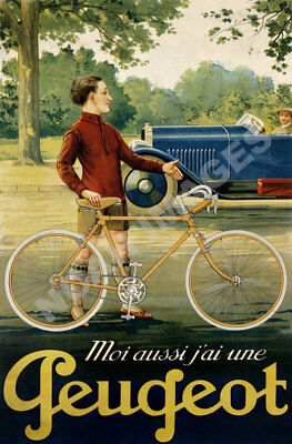 Peugeot vintage french bicycle ad poster repro 24x36
