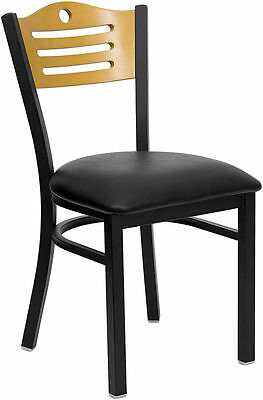 New Restaurant Metal Chairs Wood Back Wblack Padded Seat They Last Forever