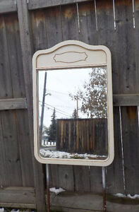 FRENCH PROVINCIAL MIRROR FOR DRESSER - IVORY & GOLD