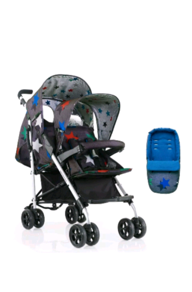 Cosatto shuffle tandem double pram pushchair grey megastar  NEW IN BOX for sale  Doncaster, South Yorkshire