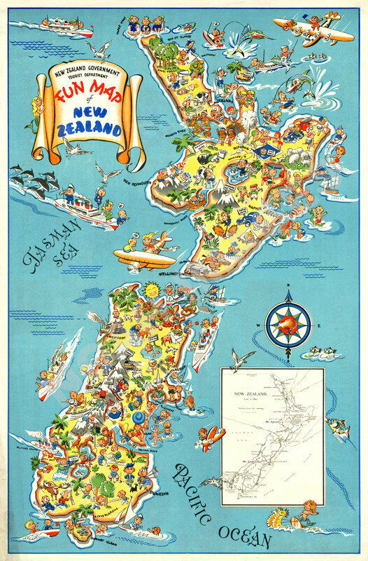 Fun Map of New Zealand vintage travel poster 24x36