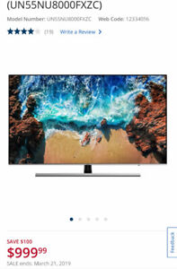 "Samsung 55"" 4K UHD HDR LED Tizen Smart TV (UN55NU8000FXZC)"