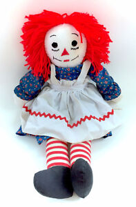 Vintage Raggedy Ann Doll Plush Soft Stuffed Body Yarn Hair Embro