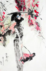 Free shipping Chinese ink paintings- Pretty Chinese lady