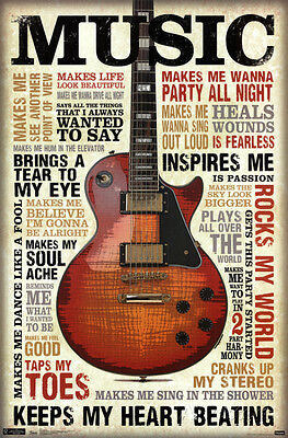 Music Inspires Me Poster   22X34 Quotes Motivational Guitar