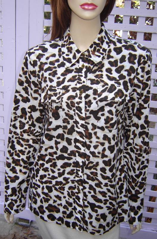 JONES NEW YORK SIGNATURE Brown/White Leopard Print Blouse w/ Tabbed Sleeves (M)