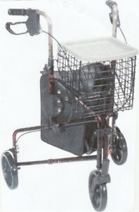 3 wheel walker rollator with basket tray and pouch flame red