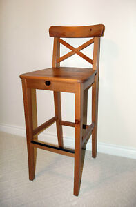 3 Brand New IKEA INGOLF Bar stools with backrest (antique stain)