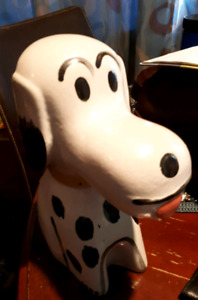 Vintage Clay/Pottery Snoopy type dog piggy bank-$20