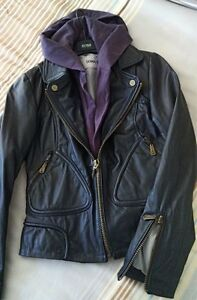 Doma Leather Jacket. Black with hood. Size XS