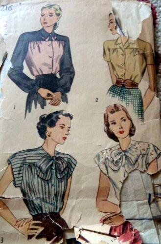 *LOVELY VTG 1940s BLOUSE Sewing Pattern 14/32