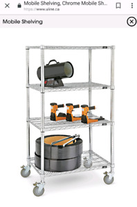 Used wire shelving on wheels. $85/each