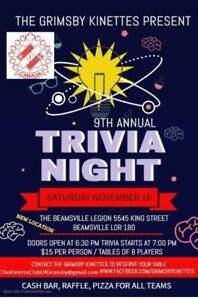 Grimsby Kinettes' 9th Annual Trivia Night