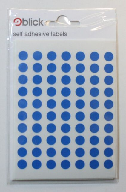 Blick High Quality Blue Self Adhesive Dots Stickers Labels 8mm 490 per pack F7G1