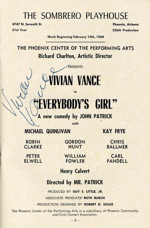 VIVIAN VANCE - SHOW BILL SIGNED