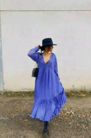 Zara Flowing Voluminous Pleat Dress Blue Influenced