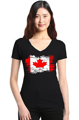 Shop4Ever Canadian Flag Women's V-Neck T-shirt Canada Maple Leaf Flag Tee