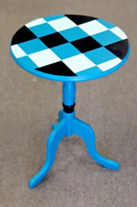 Small Pedestal Table, Checkerboard Pattern