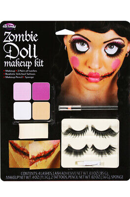 Brand New Zombie Doll Face Costume Make-Up Kit - Zombie Makeup For Women