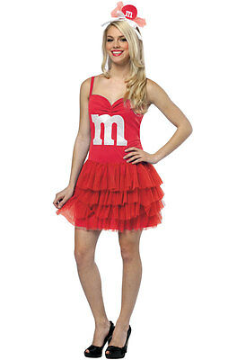 New Halloween Costume Rasta Imposta Red M&M's Party Dress, Headband, Adult 4-10](Rasta Imposta Halloween Costumes)