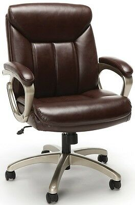 Executive Office Task Chair In Brown Softthread Leather With Adjustable Height