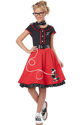 Grease 50's 50s Poodle Dress Sweetheart Child Costume (Black/Red) - Grease Costumes