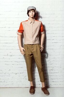 Realistic Teen Young Boy Fiberglass Fleshtone Standing Mannequin With Base