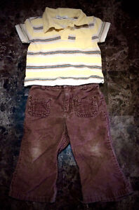Cute Brown Cords & Yellow Polo Outfit - Size 3-6 months