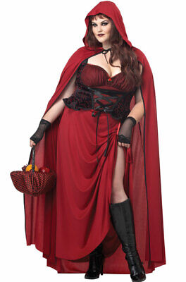 Brand New Dark Red Riding Hood Plus Size Adult Halloween Costume