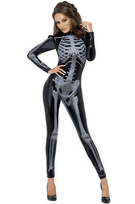 Sexy X-ray Fever Skeleton Catsuit Jumpsuit Outfit Adult Costume - X-ray Skeleton Costume