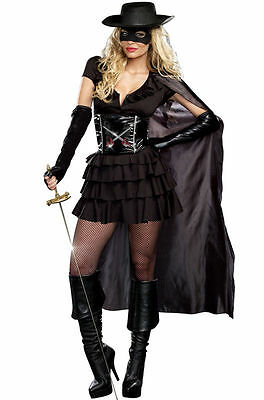 Brand New Masked Bandita Zorro Double-Edged Diva Adult Costume Women's SZ Small - Zorro Costume Women