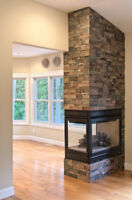 STONE VENEER , FIREPLACE RENO & REFACING , FROM DRAB TO FAB