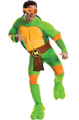 Brand New Teenage Mutant Ninja Turtles Deluxe Michelangelo Adult - Teenage Mutant Ninja Turtle Costume Michelangelo