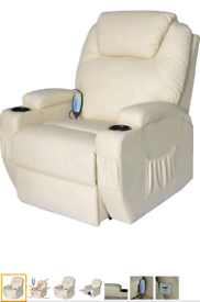 Cream Recliner rocking swivel heat and massage Armchair free local del