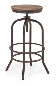 INDUSTRIAL WOODEN SEAT BAR STOOL COUNTER STOOL