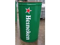 Pub bins / 45 gallon metal drum bins / outside table