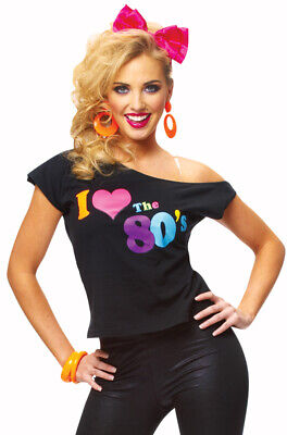 Brand New Womens I Love The 80's T-Shirt Halloween Costume - 80s Womens Costume