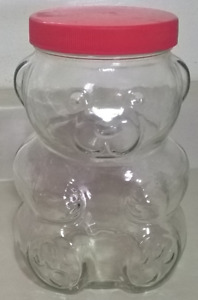 Vintage 1988 Kraft Glass Bear Jar, Peanut Butter Jar