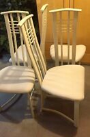 Metal chairs with reupholstered seats.  Set of 4.