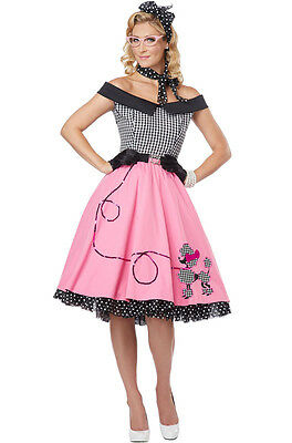 Poodle Dress Costume (Nifty 50's Grease Poodle Dress Skirt Adult )