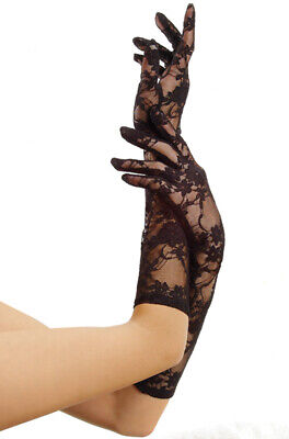 Brand New Elbow Length Lace Women Gloves Costume Accessory - Black
