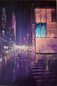 "32″ x 48″ Original Oil Painting ""Neon City"""