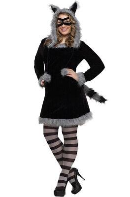 Adult Raccoon Costume (Furry Racy Raccoon Dress Women Adult Plus Size)