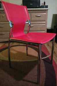 Mid Century Modern Chair Red Leather RETRO