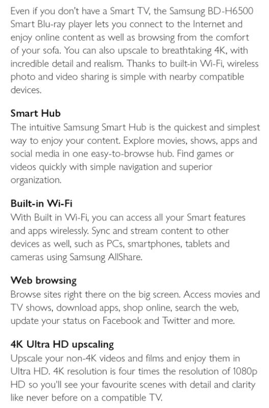 Samsung Blu-ray Disc Player, Smart Hub, Web Browsing, 4K Ultra HD, Bui | in  Bridgend | Gumtree
