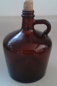 Vintage Amber Glass Jug With Handle