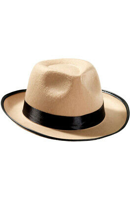 Brand New The Great Gatsby Gangster Fedora Hat (Beige) Costume Accessory - The Great Gatsby Hats