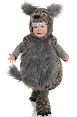 Adorable Fuzzy Big Bad Wolf Plush Outfit Toddler Costume (Toddler Big Bad Wolf Costume)