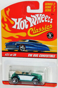 Hot Wheels Classics 1/64 VW Bug Convertible Diecast Car Green